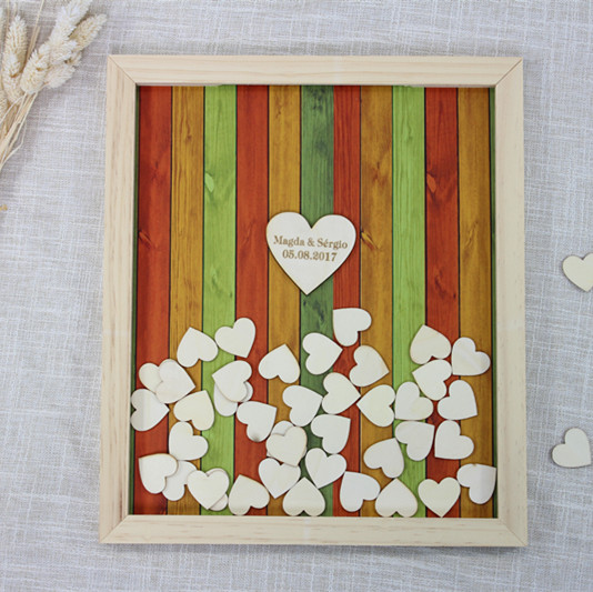 Personalized Wedding Guest Book Frame Unique Alternative Drop Top Guestbook Wooden Heart Sign