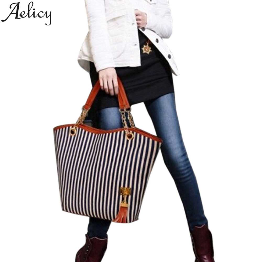 Aelicy 2019 Mode Meisje Streep Kwasten Chain Canvas Shopping Crossbody Schoudertassen Clutch Bag Vrouwen Oot Winkel Tas Handtas