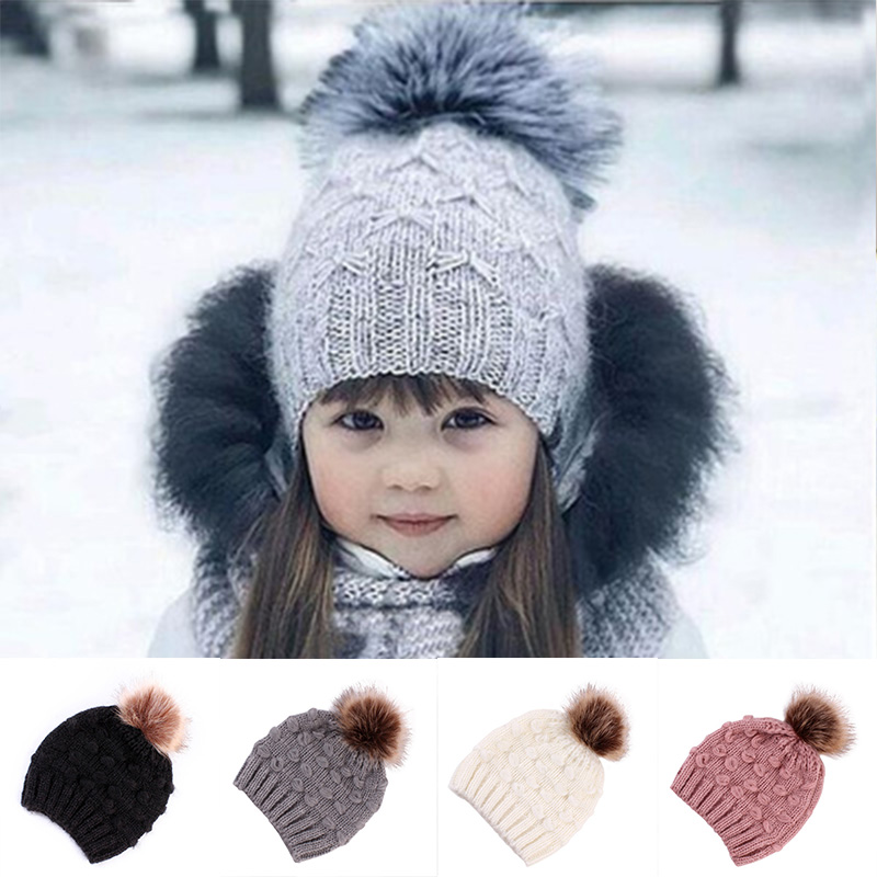 Infant Kids Baby Girls Cute Warm Knitted Wool Beanie Hat with A Big Fur Pompom