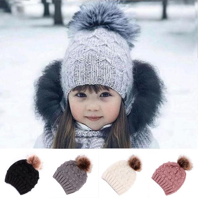 7d5738c4e27 Toddler Kids Girl Beanie Hat Baby Infant Winter Warm Crochet Knit Hat  Beanies For Boys Baby Caps Hats For Children Girls Gift