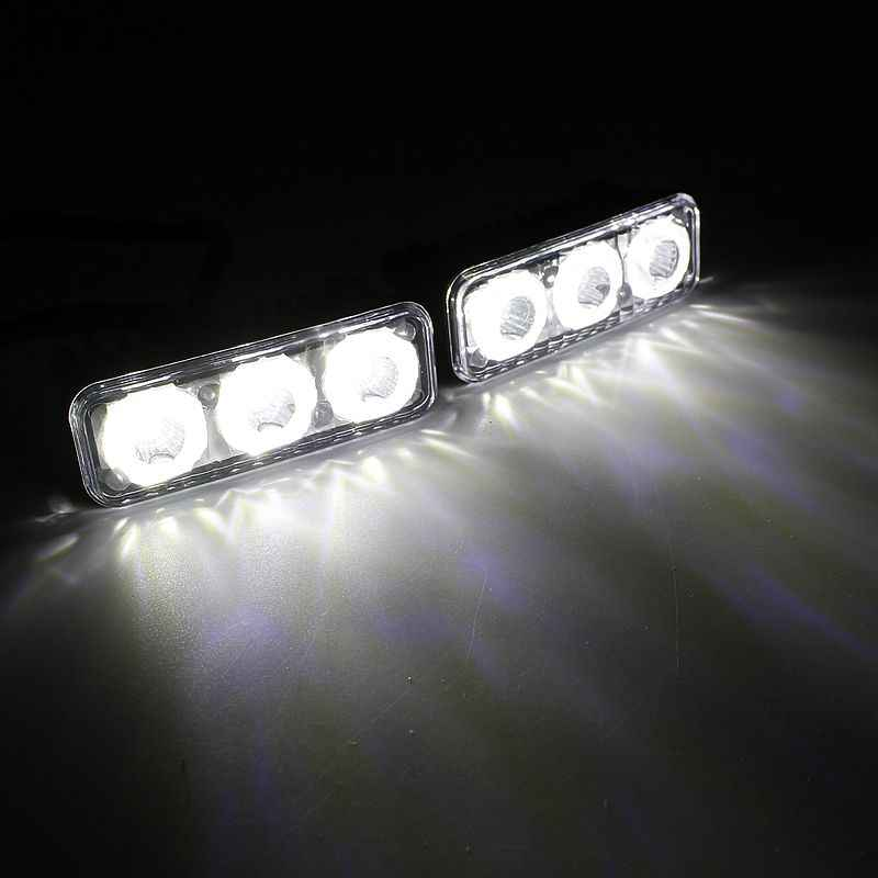 Tak Wai Lee 2 قطعة/المجموعة LED DRL النهار تشغيل أضواء العمل مصباح سيارة التصميم مصدر مقاوم للماء وقوف السيارات ضوء النهار ل 4WD 4X4 SUV
