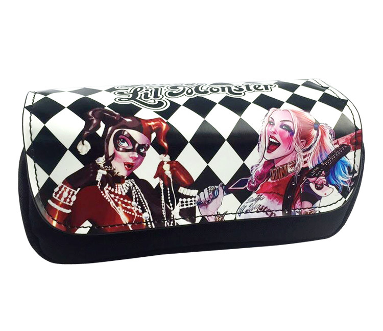 Animation Game Suicide Squad Purse Double Zipper Pen Pencil Case for Kids Boy Girl Students PU Leather Fabric Cosmetic Bags