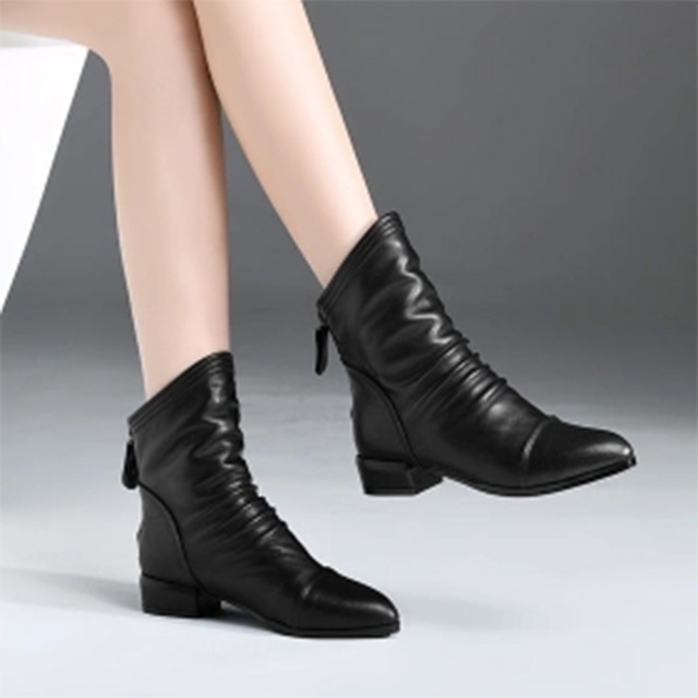 Women Ankle Boots 2018 Winter Shoes Back Zipper Booties Low Heels Boots  Black Woman Shoes Pleated designer shoes 6734 519700c0ee