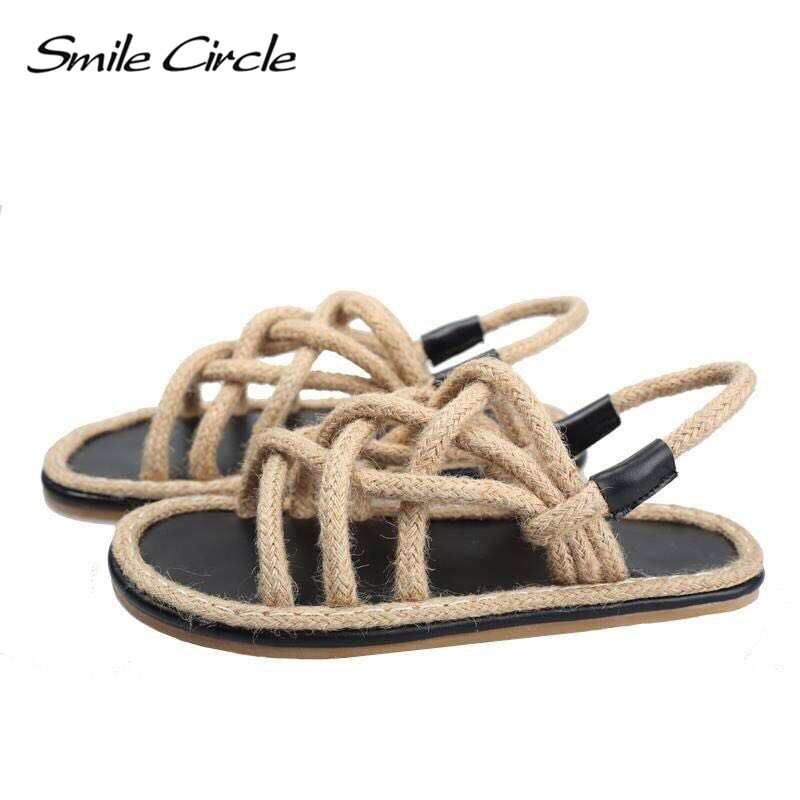 Smile Circle Big Size 35-45 Summer Sandals women espadrilles shoes Flat Natural hemp rope slippers Women sandales femme 2018 2016 summer women flat platform slippers fashion hemp rope insole ladies genuine leather buckle sandals designer espadrilles