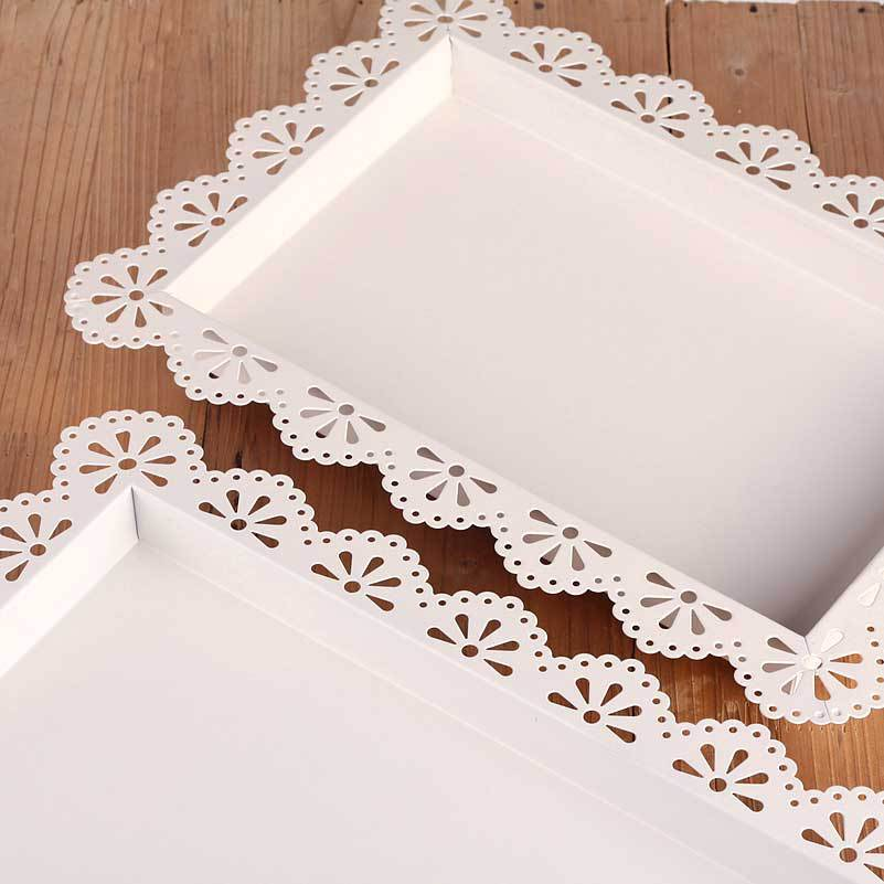 Wedding Dessert Rectangle Caketray Iron Lace Biscuits Plate Mug Up Serving Tray One 46 31 5cm Small 36 26 In Storage Trays From Home Garden On