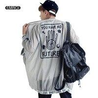 Nuevo verano de los hombres chaqueta de los hombres delgada transparente con capucha protección solar chaqueta cardigan hombres hip-hop de vestir exteriores K219