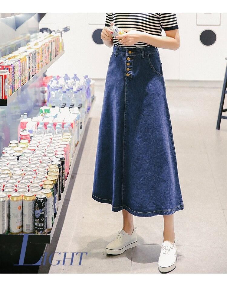 2018 новые модные женские джинсы джинсовая юбка миди Line Макси долго Женская высокая уличная синий Большие размеры xl