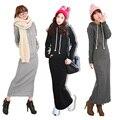 2016 Retro Vestidos de Lã Outono Inverno Hoodies das Mulheres Corpo Longo Maxi Magro Completa Mangas Vestido Casual Wear Roupas Três cor