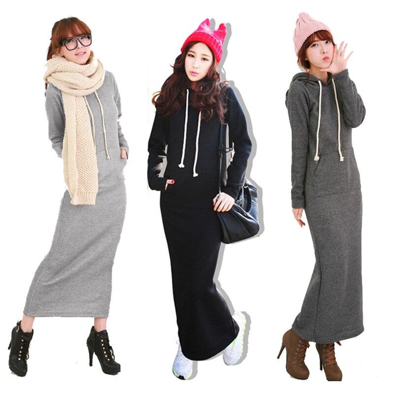 2017 Retro Women's Hoodies Dresses Fleece Autumn Winter Body Long Maxi Slim Full Sleeves Dress Casual Wear Clothing Three Color