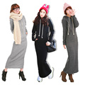 2016 Retro Women's Hoodies Dresses Fleece Autumn Winter Body Long Maxi Slim Full Sleeves Dress Casual Wear Clothing Three Color