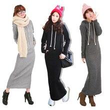 2016 Retro hanım Hoodies Elbiseler Polar Sonbahar Kış Vücut Uzun Maxi Ince Tam Kollu Elbise Gündelik Giyim Giyim Üç renk