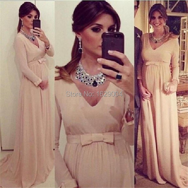 f96948c1ca9 Maternity Formal Dresses Long Sleeve V Neck Empire Waist Champagne Chiffon Formal  Gown for Pregnant Women Vestido de festa