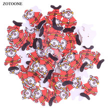 ZOTOONE Wooden Christmas Santa Claus Buttons DIY Scrapbooking Crafts Household Patchwork Decorative Gadgets Sewing Accessories E