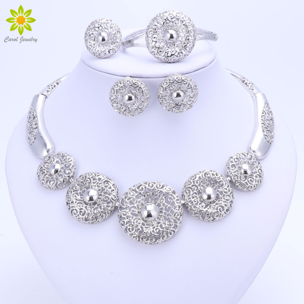 Vintage Women Clear Crystal Hollow Patterns Silver Plated African Dubai Bridal Wedding Costume Necklace Jewelry Sets