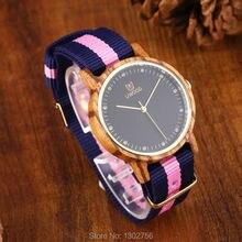 Uwood Mujeres Zebra Sandal Wood Reloj Banda de Nylon de Moda Casual Reloj De Madera Con Multicolor de Rayas Banda