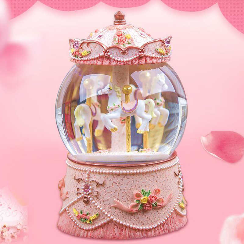 LED Light Carousel Music Box Creative Gift For Girls Kid Valentine's Day Resin Musical Boxes Home Decorations Crafts Ornaments