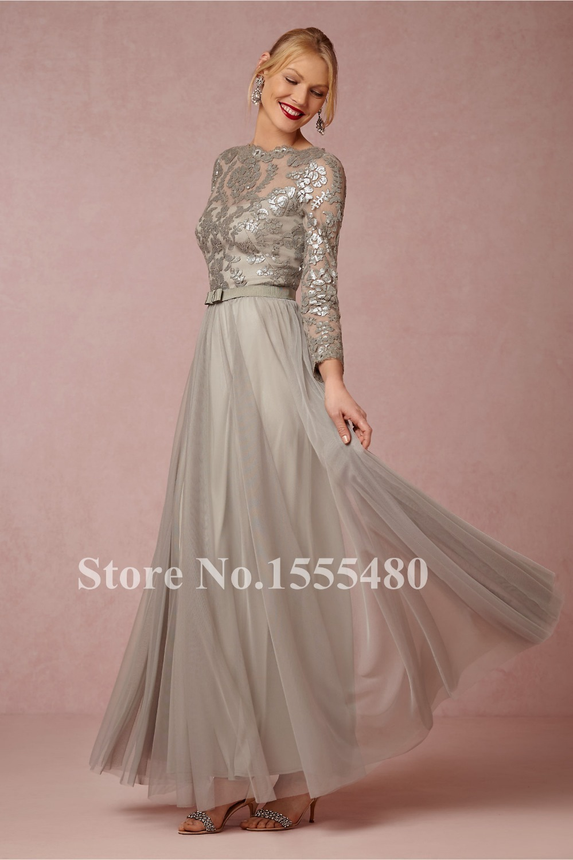Aliexpress.com : Buy Elegant Long Silver Grey Evening Dress O neck ...