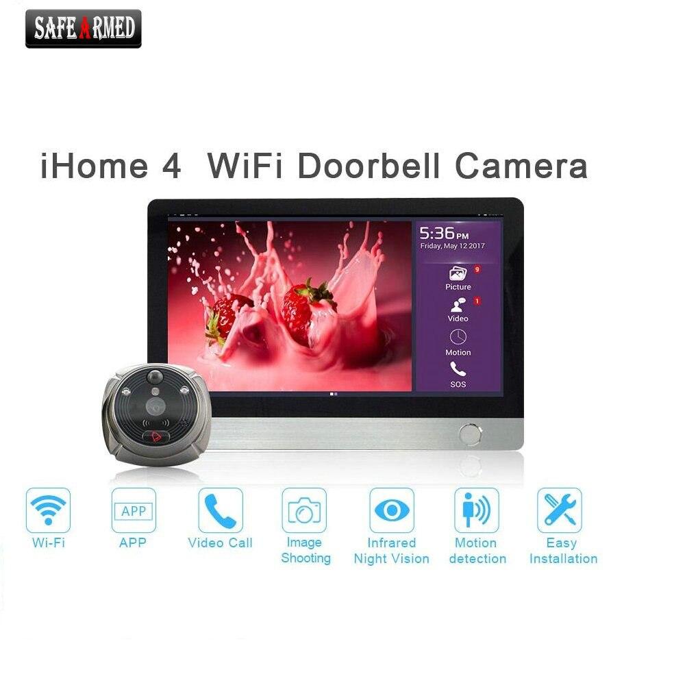 """Visionneuse de porte judas numérique WiFi-écran tactile LCD 7 """"avec interphone argent"""