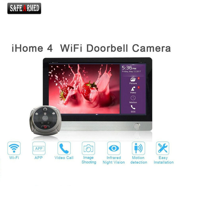 Wifi Digital Peephole Door Viewer Willful 7 Lcd Touch Screen Front