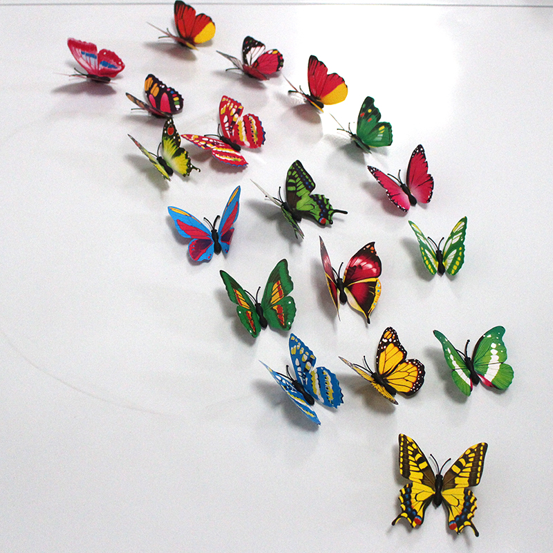 100pcs/lot Simulation Butterfly 7cm PVC Home Decoration Buterfly Wall Stickers Home Decal Magnet Crafts Holiday Decoration