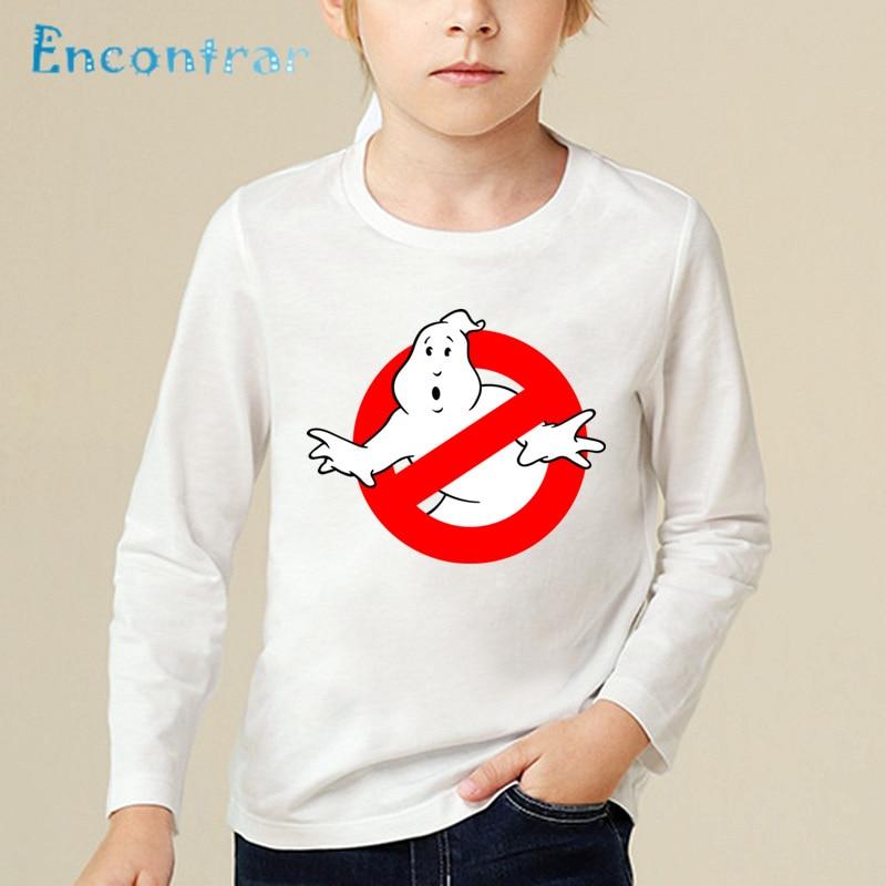 Crianças dos desenhos animados ghostbusters imprimir engraçado t camisa crianças casual encabeça bebê meninos/meninas manga longa o-pescoço camiseta, lkp5140