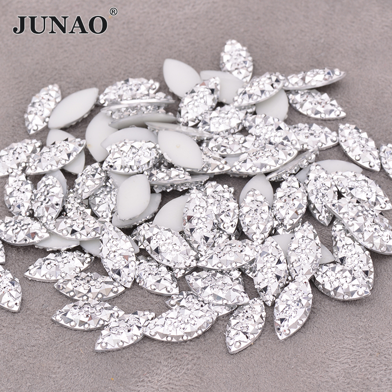 JUNAO 7*15mm Silver Crystal Rhinestone Applique Horse Eye Crystal Stone Flatback Resin Gems Non Sewing Diamond Strass For Crafts