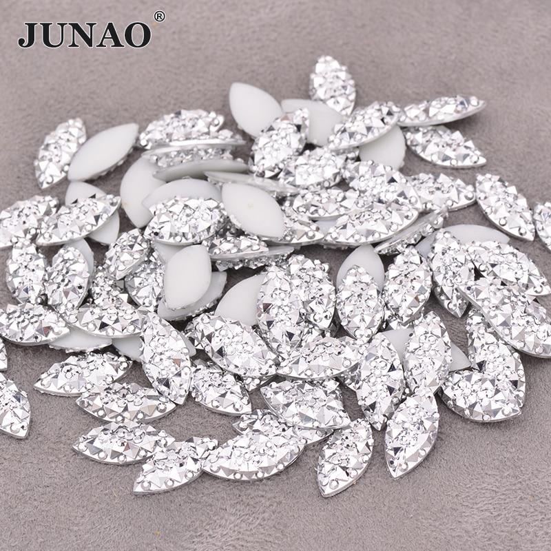 Аппликация JUNAO 7*15 мм с серебряными кристаллами, искусственный камень, драгоценные камни с плоской задней стороной, не шитье, Алмазный страз ...
