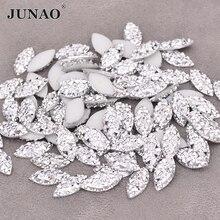 JUNAO – Strass en cristal argenté 7x15mm, pierre en œil de cheval, gemmes en résine à dos plat, diamant Non cousu pour l'artisanat