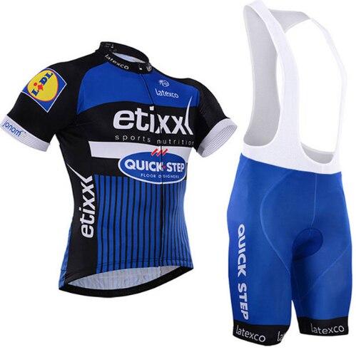 цена на 2018 Quick Step Cycling Clothing Bike jersey Quick Dry Mens Bicycle clothes mens summer team Cycling Jerseys gel bike shorts set