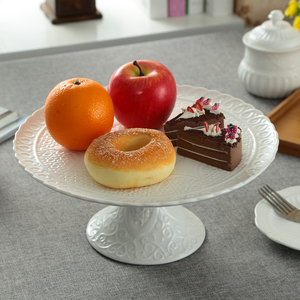 Image 5 - Ceramic Relief Compote Cake Stand Plate with Cover Decorative Porcelain Stem Dessert Serving Tray Fruits Dinnerware Utensil