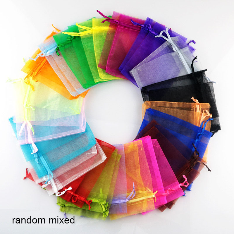 100 Pcs /pack 24 Colors Organza Bag Jewelry Package Fondant Candy Biscuits Bags Household Wedding Party Gift Packing Bag