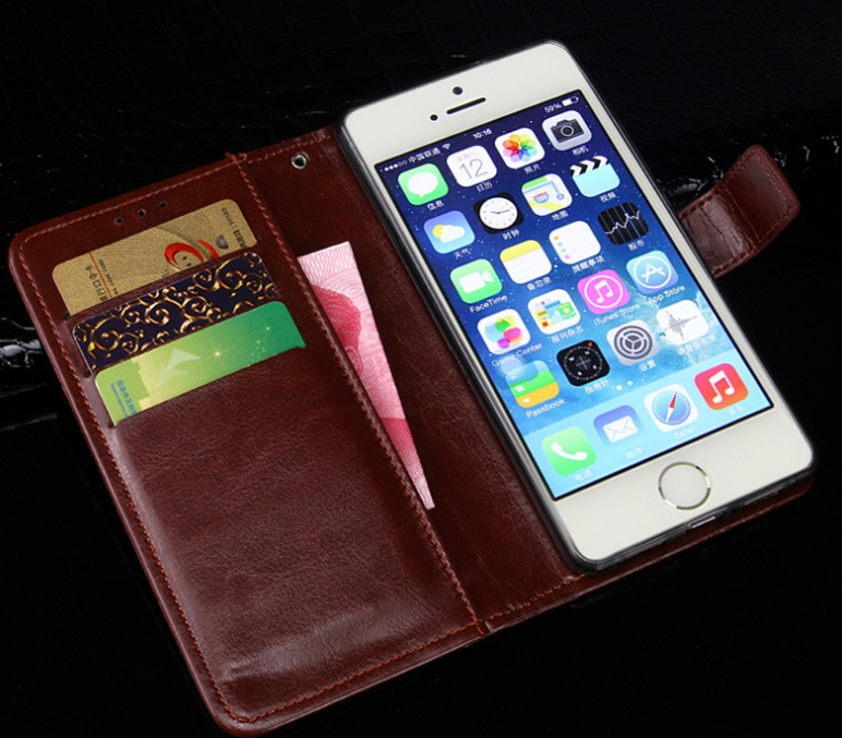 Luxury Vintage PU Leather Flip Cover For iphone 5S Case