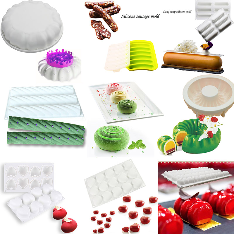 Silicone Cake Mold Mousses Ice Cream 3d Cakes Baking Pan Accessories Bakeware Tools Chocolate Brownie Mousse Make Dessert Pan