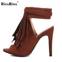 Shoes Women Peep Toe High Heels Sandals Ladies Gladiator Vintage Tassel Woman Heeled Sandalias Shoes Footwear