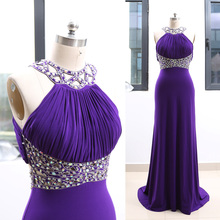 Eggplant Sweep Train High Neck Floor Length Long Maxi Crystal Jersey Prom  Party Formal Evening Dress d83c0b2b7e21