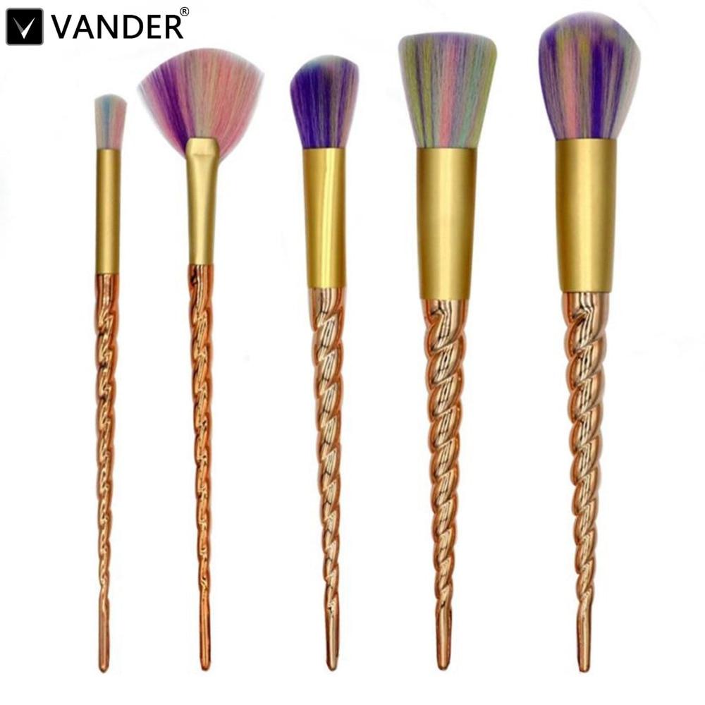 VANDER 5Pcs Gold unicorn Professional Makeup Brushes Set Beauty Cosmetic Eyeshadow Lip Powder Pinceis Tools Kabuki
