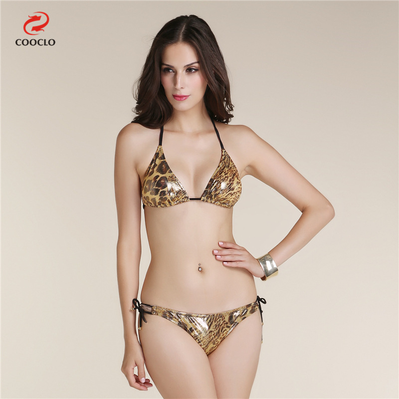 2016 Hot Sexy Summer Golden Leopard Zebra Stripe Bikinis Set Swimsuit Bathing Suit For Women Girl
