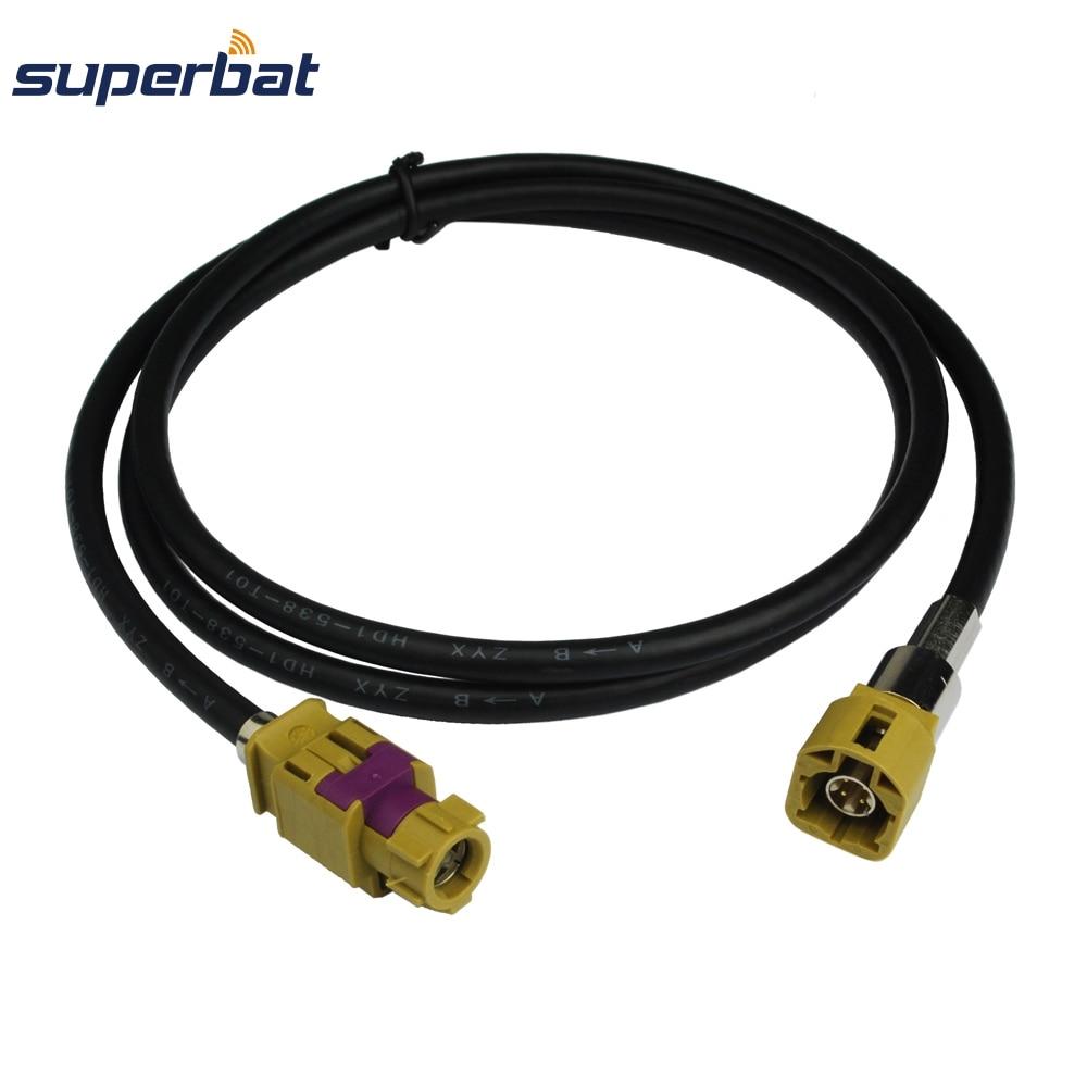Superbat Fakra K Coding HSD Cable Assembly Straight Female Jack To Straight Male Plug Dacar 535 4pole 120cm Car Radio Antenna