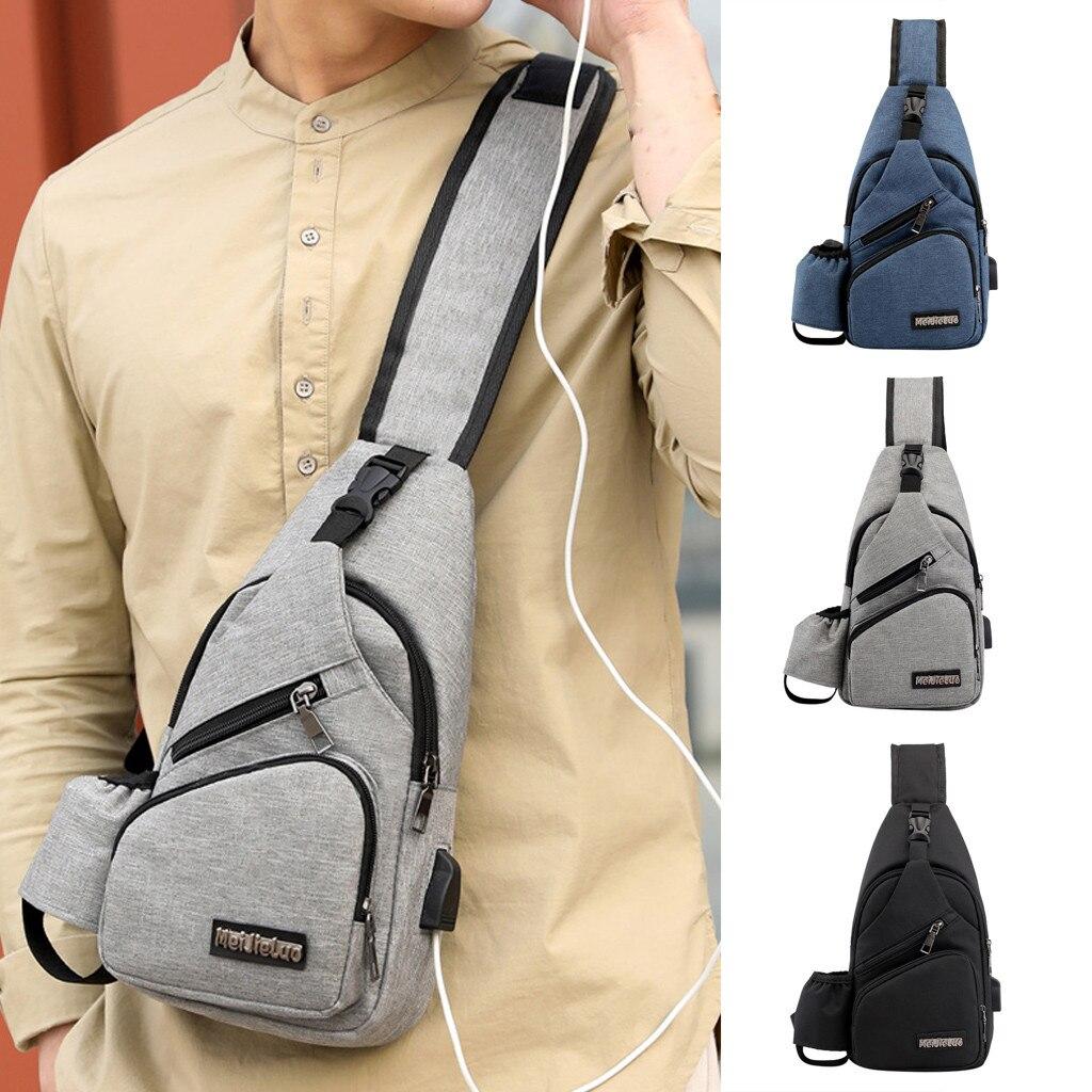 Fashion USB Charging Casual Men Chest Pack Canvas Crossbody Bags for Men Shoulder Handbag Travel Cross Body Bag erkek anta /0.7(China)