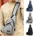 ファッション USB 充電カジュアル男性胸パックキャンバスクロスボディバッグ男性ショルダーバッグハンドバッグ旅行クロスボディバッグ erkek anta -