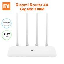 Маршрутизатор Xiaomi Mi, роутер 4A гигабитная версия 2,4 ГГц 5 ГГц WiFi 1167 Мбит/с WiFi ретранслятор 128 Мб DDR3 с высоким коэффициентом усиления, 4 антенны, сетевой удлинитель