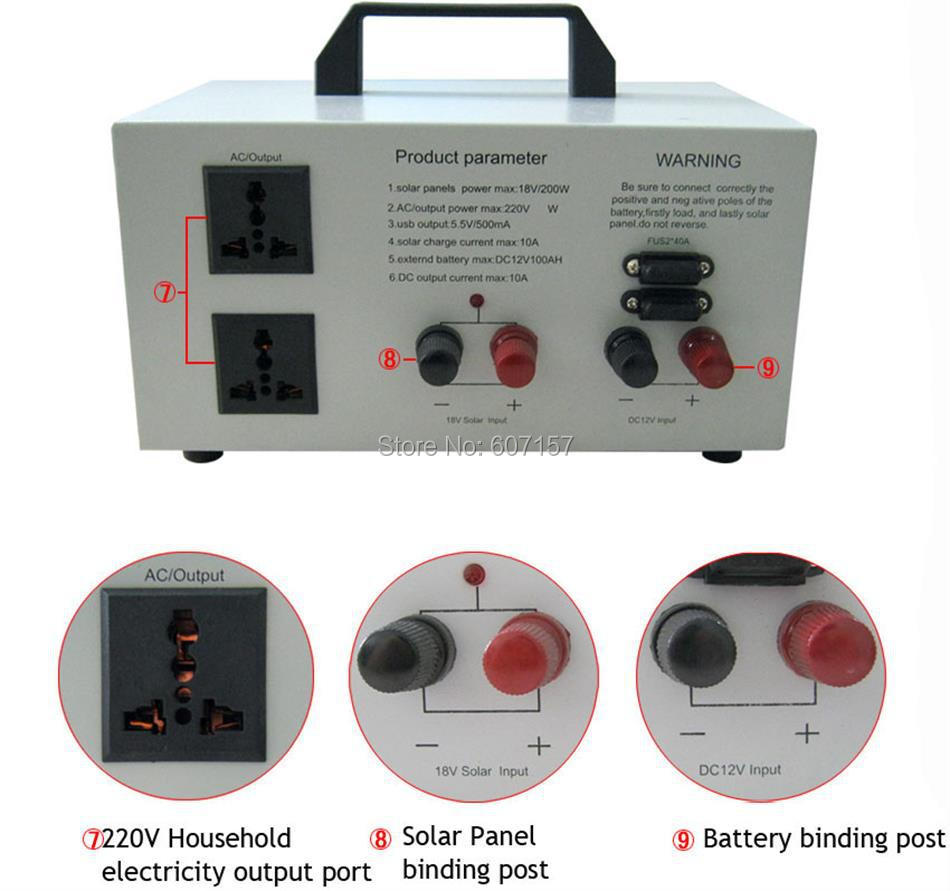 LBSolar 800W Portable AC DC Solar Generation System No Battery with ...