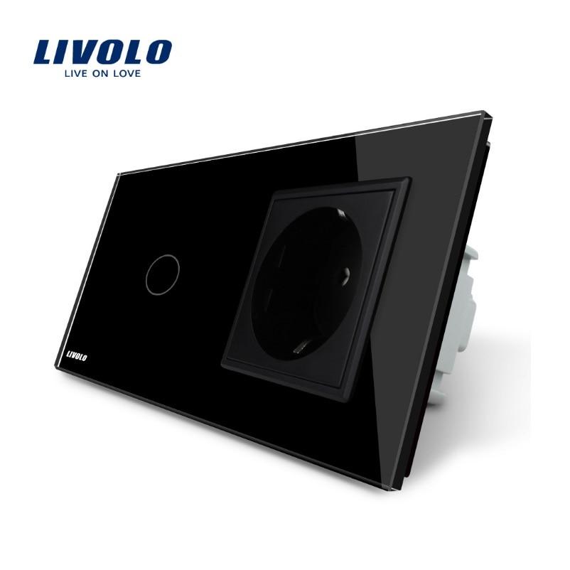 Livraison gratuite, interrupteur tactile Livolo avec prise Standard EU, panneau en verre cristal noir, prise 16A EU, VL-C701-12/VL-C7C1EU-12