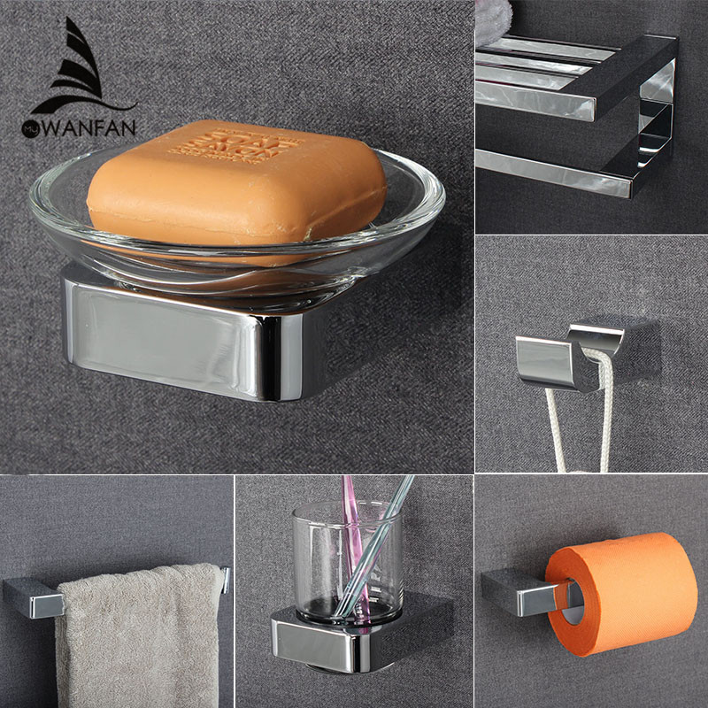 Metal Bathroom Series European Modern Towel Ring Toilet Paper Holder Cup Holder Robe Hook Bathroom Hardware FM-5700 fully copper bathroom towel ring holder silver