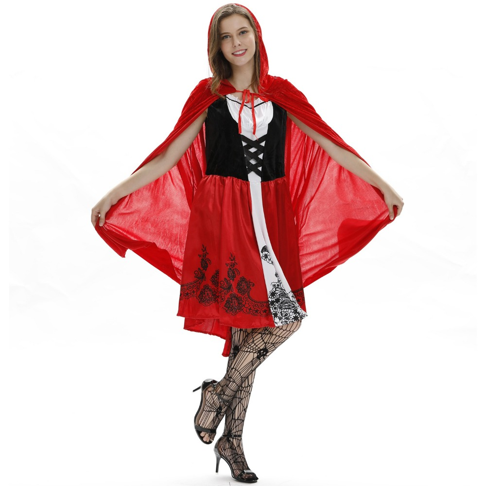 Sexy Little Red Riding Hood Women Costumes Halloween Party Vestidos Cosplay Female Dress And Cloak Set