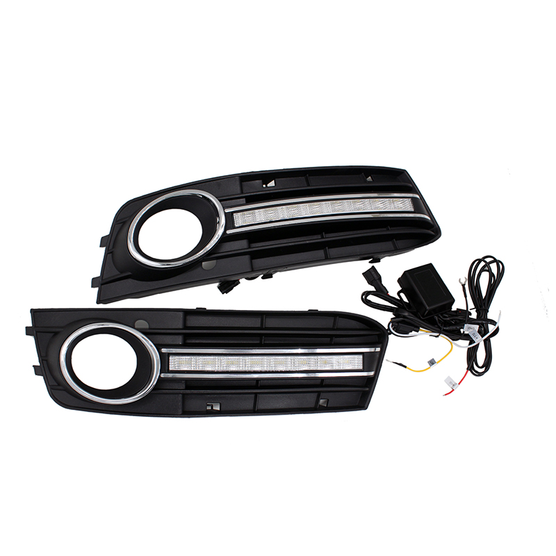 Free Shipping 12V Waterproof Car Fog Lamp LED DRL Driving Daytime Running for AUDI A4 2009-2012 with Dimmed Function drl daytime running lights for audi a4 b8 2009 2010 2011 2012 auto led day driving lamp with fog lamp hole free shipping