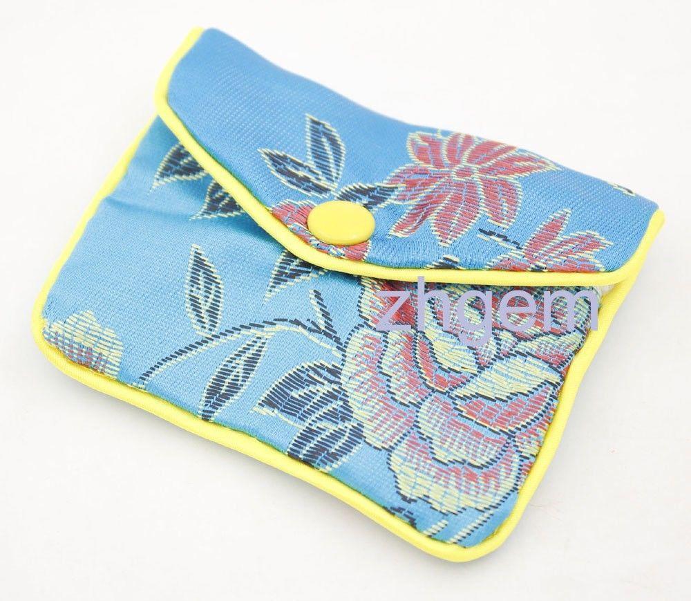 Купить с кэшбэком 5PCS Blue Silk Cloth Handmade Women's Handbags Clutch Purses 5 Size Different