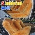5 lugares/set longo de pele de ovelha assento de carro capa de almofada de moda de nova chegada e quente lã real assento de carro capa de almofada