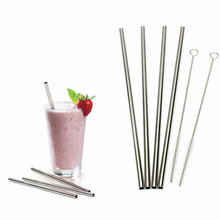 4pcs Stainless Steel Drinking Straws+Cleaner Brush Reusable Unfolded Metal Kitchen Hot