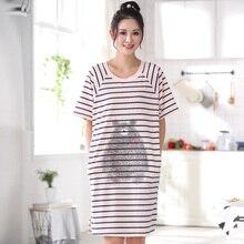 Summer Cotton Striped Sleepwear Women Nightgown Mujer Lounge Dress Nighdress Sleepwear Nightwear Sleepshirts Plus 3XL Shirts